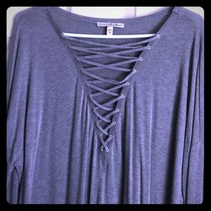 Express lace up long sleeve shirt